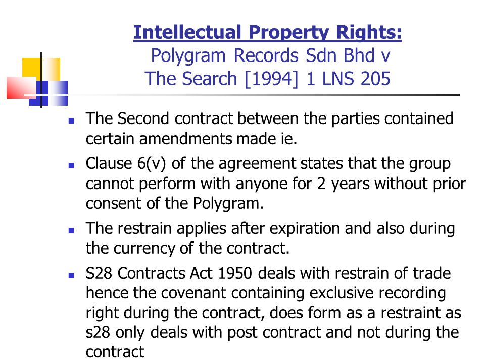 Intellectual Property Rights: Polygram Records Sdn Bhd v The Search [1994] 1 LNS 205